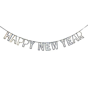 Glitter Garland New Year Silver