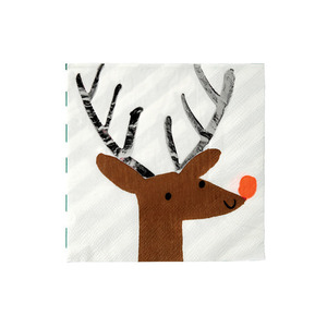 Party Napkins Shiny Antler Reindeer Small