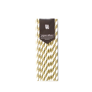 Stripe Gold Paper Straw 10p