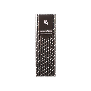 Small Dot Black Paper Straw 10p