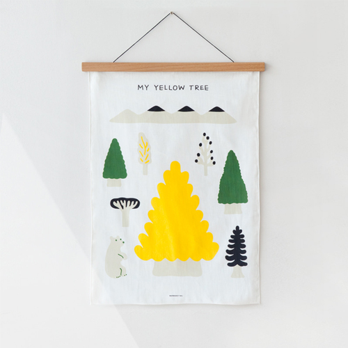 My Yellow TreeBlack Fabric Poster