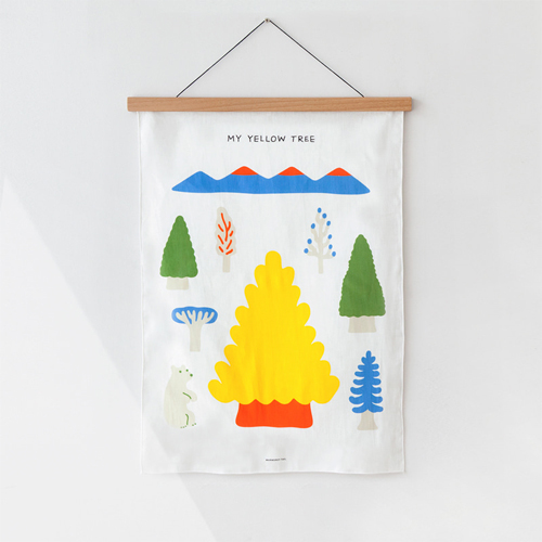 My Yellow TreeBlue Fabric Poster