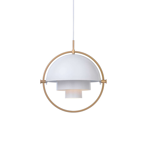 Multi Light Pendant White/Brass